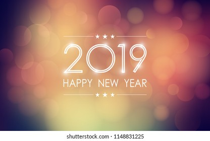 Happy new year 2019 with abstract bokeh and lens flare pattern in vintage color style background