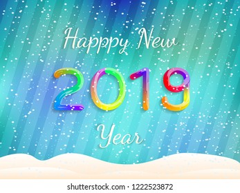 Happy New Year 2019. Abstract Festive Background. Colorful Gradient Text with Snow. Vector Poster, Banner, Greeting Card. Vector Illustration.