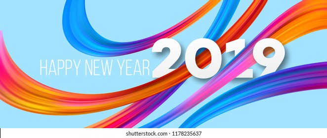 Happy New Year 2019 acrylic banner design. Vivid brushstrokes on blue background. 2019 New Year greeting. Oil paint ribbons. Rainbow brush strokes. Postcard design element. Isolated vector