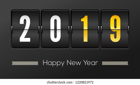 Happy new year 2019. Airport time table with numbers. Flip countdown timer with number of year. Countdown timer. Mechanical scoreboard of counter of elapsed time. Vector template for holidays party