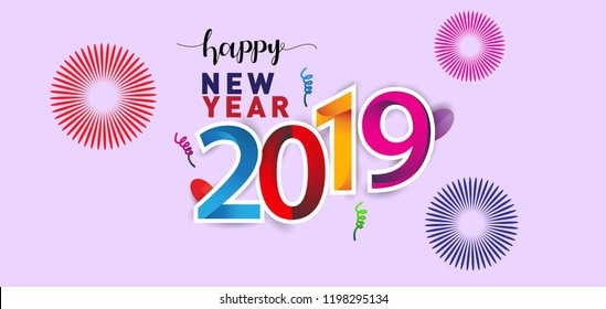 happy new year 2019 background decoration greeting card design template with colorful confetti new