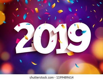 Happy New Year 2019 background decoration. Greeting card design template 2019 confetti. Vector illustration of date 2019 year. Celebrate brochure or flyer.