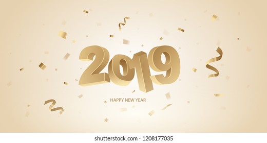 Happy New Year 2019 background. Golden 3D numbers and confetti on a bright background.