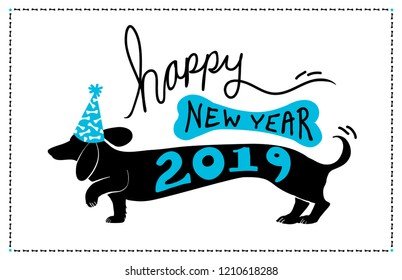 Happy New Year 2019 background design with cute fun dachshund doxie dog wearing blue party hat with bone pattern and 2019 typography on the puppy vector silhouette, with bone border
