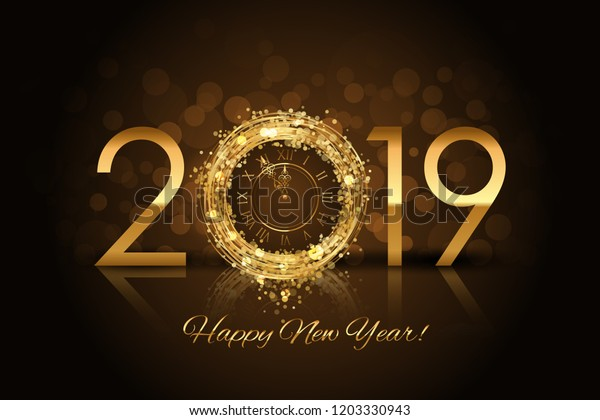 Happy New Year 2019 - New Year background with gold clock