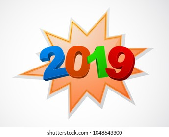 happy new year 2019 banner 3d icon