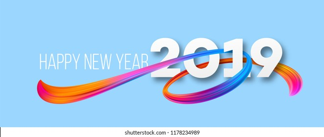 Happy New Year 2019 banner design. Vivid acrylic brushstrokes on winter background. 2019 New Year greeting. Ribbon paint smear. Rainbow brush stroke texture. Postcard design element. Isolated vector