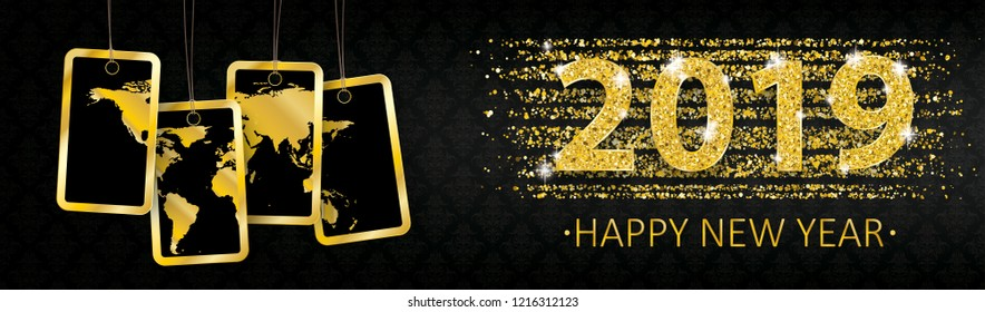 Happy new year 2019 banner with golden sand and price stickers with a world map. Eps 10 vector file.