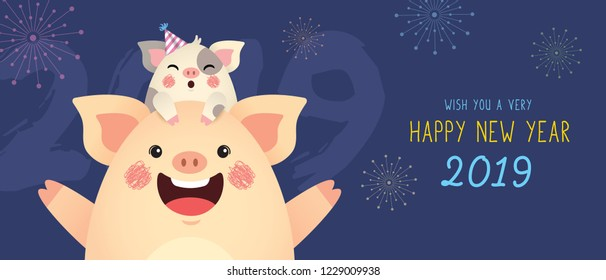Happy New Year 2019 banner design. Cute cartoon pigs celebrate new year with fireworks. Year of the pig vector illustration.