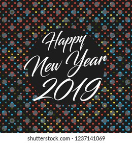 Happy New Year 2019 banner. Abstract dots background
