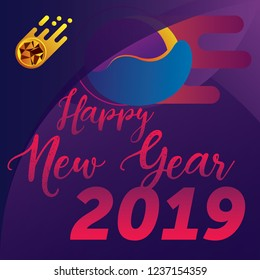 Happy New Year 2019 banner. Abstract background. Meteorite illustration