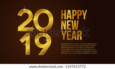 Happy New Year 2019 Banner Template Stock Vector Royalty Free