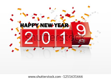 Happy New Year 2019 Banner Box Stock Vector Royalty Free
