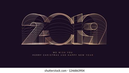 Happy New Year 2019 business greeting card. Modern vector illustration concept for background, greeting card, website banner, party invitation card, social media banner, marketing material.
