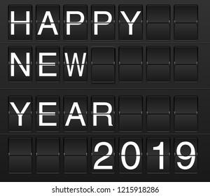 Happy New Year 2019 card in display board style (solari board, flightboard, flipboard), black and white