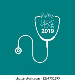 Happy New Year 2019 Card Created for Doctor and Hospital use purpose.