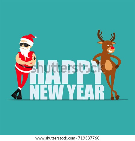 happy new year 2019 cartoon reindeer rudolf and santa claus greeting card