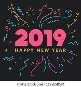Happy New Year 2019 Celebration greeting card for New Year eve on blank background. Colorful beautiful geometric shapes