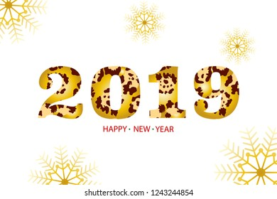 Happy New Year 2019 celebration card design with snowflakes