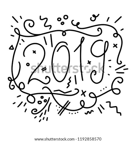 happy new year 2019 celebration greeting card for new year eve on blank background colorful