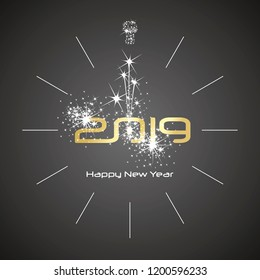 Happy New Year 2019 champagne spark firework clock gold shining numbers black background