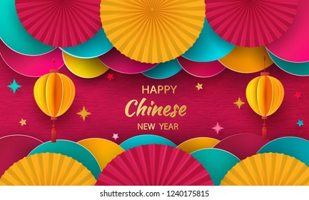 Happy New Year. 2019 Chinese New Year Greeting card, poster, flyer or invitation. Design in paper cut style. Vector illustration.