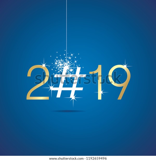 Christmas Hashtags 2019 Happy New Year 2019 Christmas Hashtag Stock Vector (Royalty Free