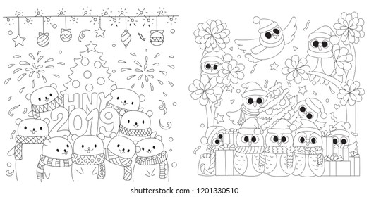 Happy New Year 2019 collection, the polar bears and cute owls in Christmas party design for printed tee,cards,invitation and coloring book page for kids.Vector illustration