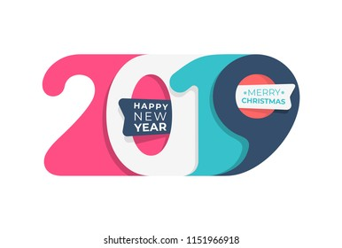 Happy New Year. 2019 colored in pastel colors number text design typography pattern. Design for greeting poster and cards, calendars, banners, site, business card, covers. Isolated vector illustration