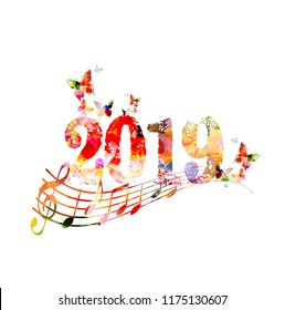 Happy New Year 2019 colorful template design background with music notes, vector illustration