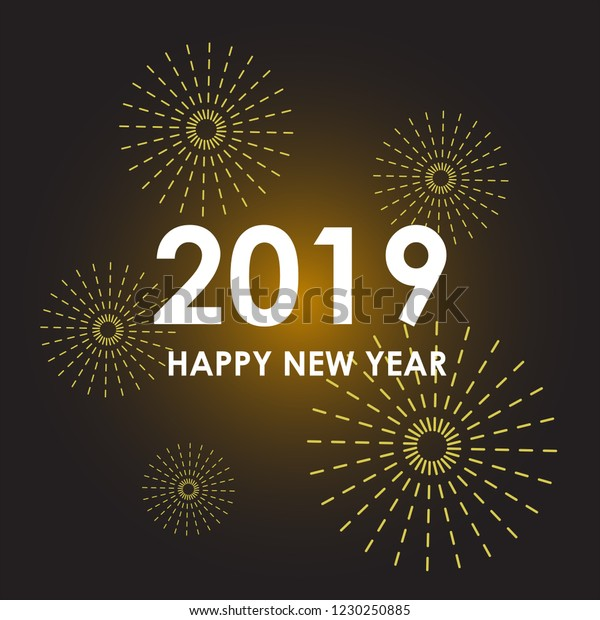 Happy New Year 2019 Colorful Wallpaper  Royalty-Free Stock Image