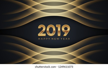 Happy New Year 2019. Creative luxury abstract vector illustration with golden numbers on dark background