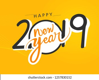 Happy New Year 2019 creative typographic hand lettering calendar design for banner poster and website header vector illustration