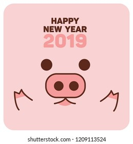 Happy New Year 2019, cute pig card vector illustration.
