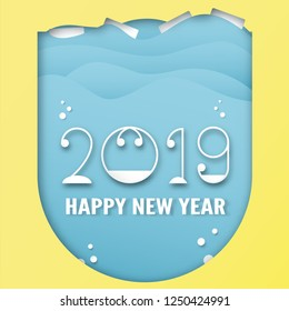Happy New Year 2019 decoration on blue background. Vector illustration with calligraphy design of number in paper cut and digital craft.
