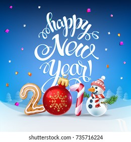 Happy New Year 2019 decoration poster card. Sign background and composition on a snowy field with Christmas toys and Snowman, garlands, candy canes, gingerbread and snowflakes. Vector isolate