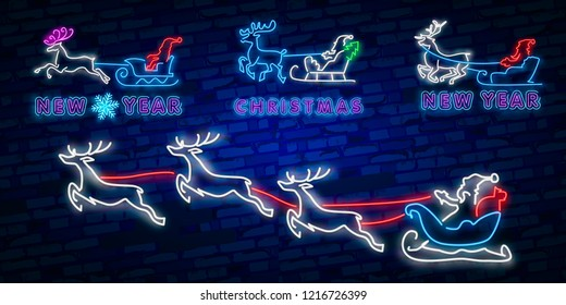 Happy New year 2019. Deer neon sign. Neon sign. Night party. Logo. Banner. merry Christmas. Cute reindeer with Christmas balls. Christmas tree toy.