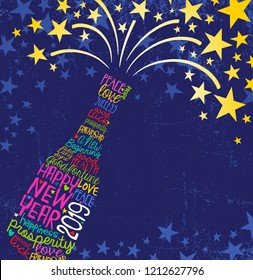 Happy New Year 2019 design. Abstract champagne bottle with inspiring handwritten words, bursting stars. Blue background with space for text.