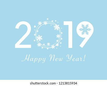 Happy New Year 2019 design. Flat vector greeting illustration with snowflake