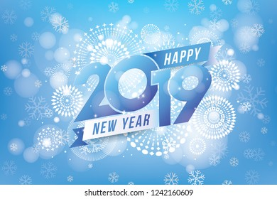 Happy new year 2019 design with fireworks and winter season concept. Vector illustration