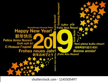 Happy New Year 2019 in different languages word cloud greeting card concept