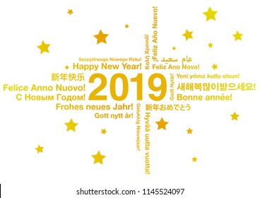 Happy New Year 2019 in different languages greeting card concept