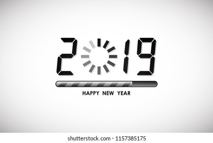 happy new year 2019 in digital font with loading bar icon on white color background