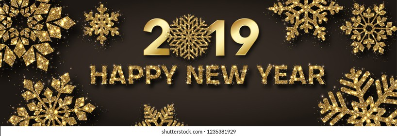 Happy New Year 2019 festive banner with beautiful golden shiny snowflakes. Vector background.