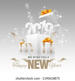 Happy New Year 2019 firework box silver grey background
