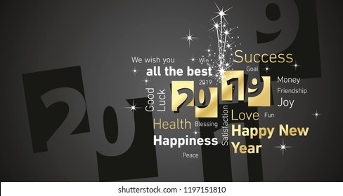 Happy New Year 2019 firework negative space cloud text gold white black vector