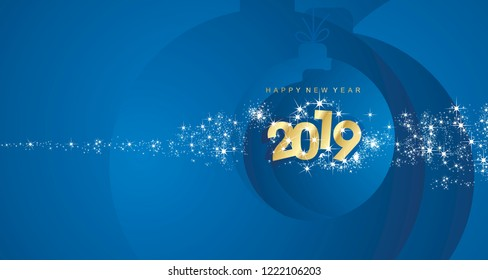 Happy New Year 2019 firework gold blue Christmas ball landscape greeting card