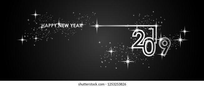 Happy New Year 2019 with firework. Vector illustration.