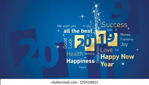 Happy New Year 2019 firework negative space word cloud text gold white blue vector