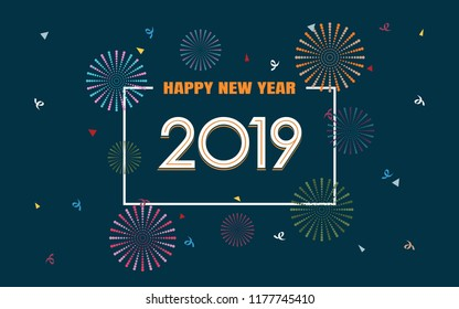 happy new year 2019 with fireworks in flat icon design on dark blue color background